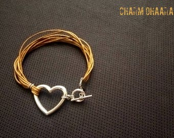 leather btacelet with silver love connector