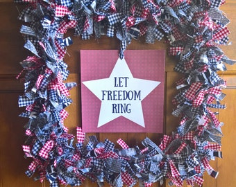 4th of July Wreath, Patriotic Wreath, Red White and Blue Wreath, 4th of July Door Hanger, Rustic Americana Wreath, Patriotic Decor