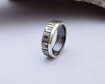 Unique wedding band, titanium ring with sterling silver inlay and a flush set CZ stone, mens wedding band, titanium wedding bands men