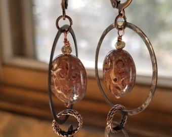Czech glass, copper, and oxidized bronze earrings