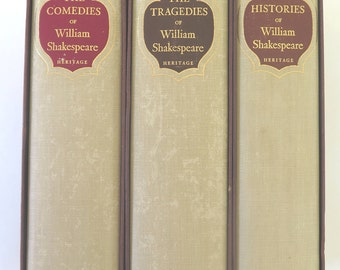 Heritage Press, The Complete Plays of William Shakespeare, 1958, Set of Three, The Comedies, The Histories, The Tragedies, Illustrated