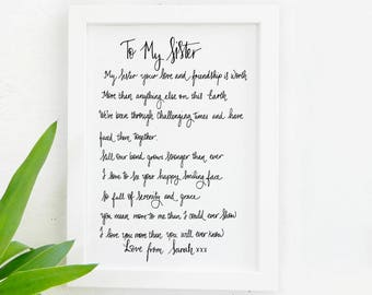 Sister Print - Gifts for sister - Best sister quote -Sister Quote Sister best friend - Birthday gift - sister birthday