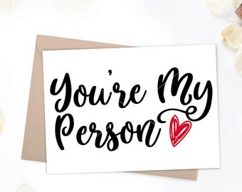 You're My Person, Printable, valentines day card, greys anatomy, blank interior, greys anatomy card,printable valentines card,valentines day
