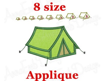 Camping tent Applique Embroidery Design. Camping tent mini. Camping tent embroidery. Camping embroidery. Machine Embroidery.