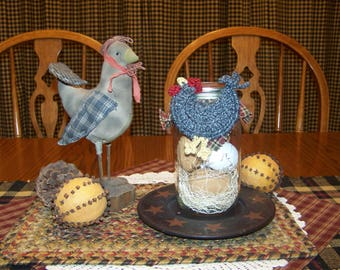 Wooden Egg Jar with Chicken Ornament