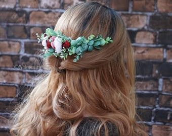 Flower hair comb, bridal flower crown, extended flower haircomb, blush flower crown, burgundy flower headpiece