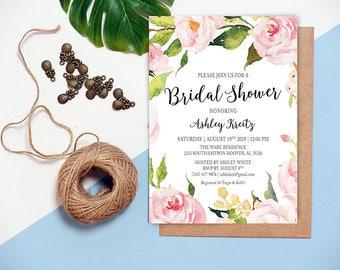 Watercolor Bridal Shower invitation, Bridal shower invitation, Rustic bridal shower invitation, Floral Bridal Shower - US_BI0901