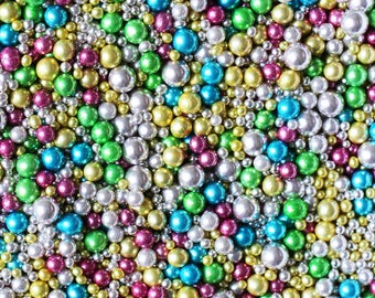 Rainbow Dragee Mix 4mm 7mm 10mm, rainbow metallic dragees, blue pink green dragees, gold dragees, silver dragees, fancy sprinkles