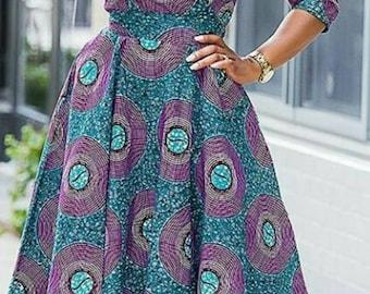 Ankara flare dress