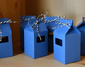 10 Royal Blue Milk Cartons - Handmade - Candy Boxes/Favour Bags/Party Favours/Kids Party/Wedding Favours/Paper Gift Bags/Gift Boxes
