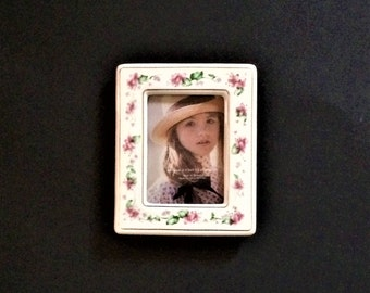 Vintage Ceramic Picture Frame, 2 x 3 Frame, Pink Floral Frame, Miniature Frame, Collectible Frame, Pink Decor, Small Frame, Photo Holder