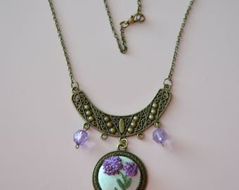Hand Embroidered Necklace,Flowers pendant,Miniature Embroidery,