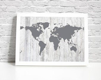 Digital Print - Map Wall Decor - White Stained Gray