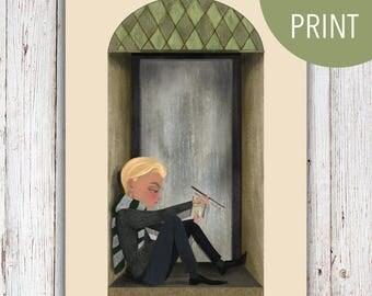 Draco Malfoy Slytherin Hogwarts Print || 5x7 Harry Potter Illustration
