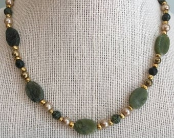 """Upcycled Jewelry -  """"Rock of Ages"""" - Beaded Necklace - Made with Vintage and New Materials"""