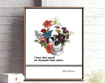 Walt Whitman Quote Print, Literary Gift for Him, Librarian Gift, Bedroom Wall Art, Bookworm Gift for Her, College Student Gift, Book Art