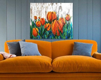 Original Painting Wall Decor - Yellow Painting Gift - Flower Painting Gift - Orange Painting - Tulip Flower Painting - Large Textured Art