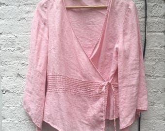 Vintage Pink Linen Wrap Top | Size M | Women's Vintage Clothing