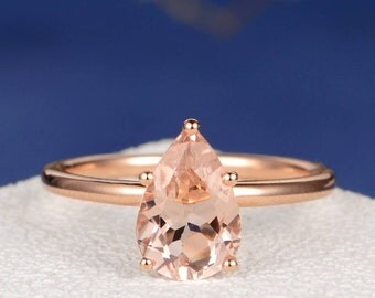 Pear Shaped Morganite Engagement Ring Rose Gold Solitaire Simple Bridal Ring Pear Cut Wedding Anniversary Promise Gift for Her Women Ring