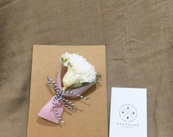 Greeting Card/ Handmade Preserved Flower Card with 'Carnation Bouquet'/Blank Card/Thank You Card/ Good Luck Card/ Happy Anniversary/