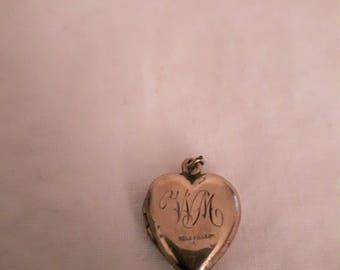 Vintage Heart Gold Filled Locket Pendant - Inscribed with WM on the front - 1960s