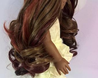 "Custom 10-11"" Doll Wig Fits Most 18"" Dolls, Blythe, 1/4 Sized Dolls and More ""Harvest"" Heat Safe"