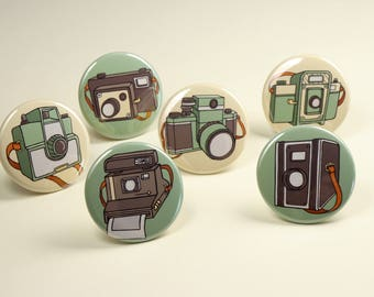 Retro Camera Button Pins or Magnets Set of 6, Photography Magnets, Gift for Photographers, Camera Badges, Camera Pin Back Buttons,