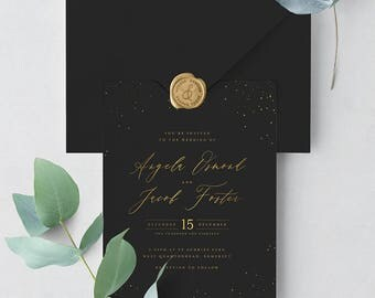 Starry Sky Wedding Invitation Suite Deposit - Enchanting black and gold wedding invitation with gold foil detail