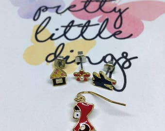 Little Red Riding Hood earrings set enamel