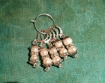 """NEW 5 """"Pearl Beads"""" Progress Keepers, Stitch Markers"""
