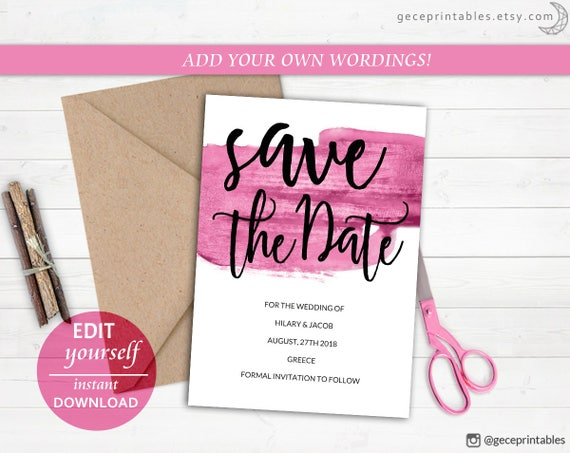 editable save the date template pink brush printable save date