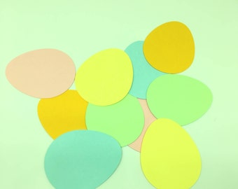 30 Cardstock Die Cut Easter Eggs Pastel Colors