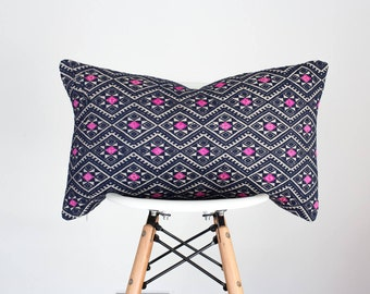 13 x 22 Navy and Pink Chinese Wedding Blanket Lumbar Pillow Cover, Boho Pillow Cover, Nursery Pillow Cover, Vintage Pillow Cover