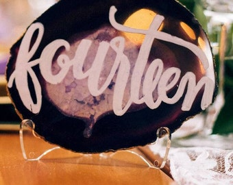 Agate Table Number | Calligraphy | Wedding Table Numbers
