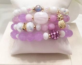 Purple Pineapple Stack Bracelets Beaded Bracelets Layering Bracelets Stretch Bracelets