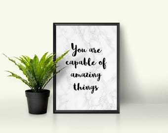 Marble Print, Motivational Quote, Wall Print