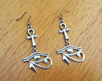 earrings egyptian cross ankh eye of horus ancient egypt god silver esoteric pagan occult wicca gothic dark