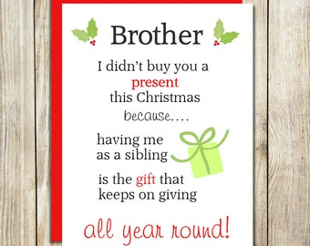 Funny Brother Christmas Card - Funny Sister Christmas Card - Christmas Humour Cards - Sibling Christmas Cards -  Christmas Cards For Family