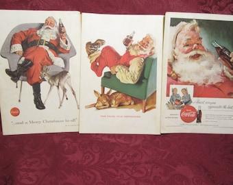 Coca Cola Santa Ads National Geographic 1955 ~ 1956 ~ 1958  Coke Ephemera Christmas Holiday