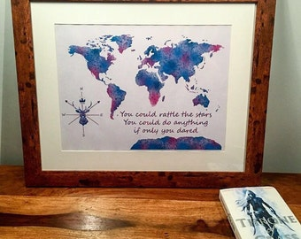 Throne of Glass Themed Map, World Map, Throne of Glass Wall Art Decor, Throne of Glass A4 Print