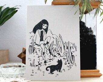 Black Cat - A5 illustration print