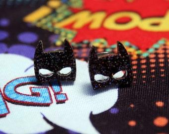 Bat Mask Holographic Glitter Stud Earrings Surgical Steel