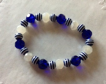 Bracelet Blue and White Stretchy