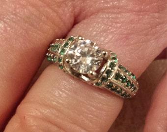 Emerald & White Topaz Round Cut Gemstone Sterling Silver Ring, 2 ct.  Size - 6