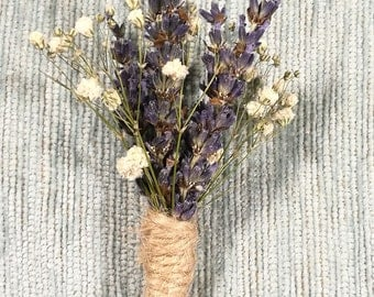 Unique dried flower Button hole. Lavender and Gypsophila/ Baby's breath