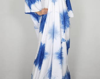 Summer Dress Beach Cover Sundress Cotton Dresses Lightweight Tie Dye Blue for Picnic  Leisure Party to Maternity