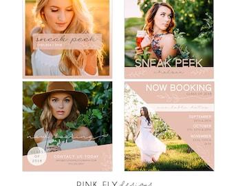 Social Media Boards | Sneak Peek | Now Booking | Senior Photo Template | Blush Botanical