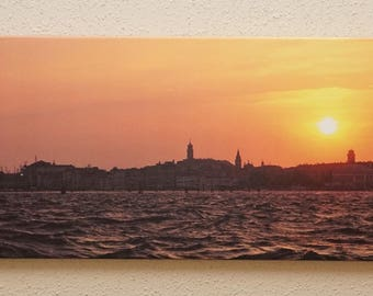 "Venetian Sunset Large Canvas Print, 12"" x 40"" Panoramic View of the Sunset Over Venice"