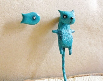 Cat and Fish Earrings - Cat Fake Gauges - Cat and Fish Jewelry - Unusual Cat Earrings - Cat Ear Plugs - Faux Gauge Earrings - Edgy Earrings