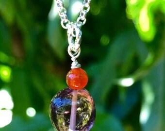 Stylish Ametrine & Carnelian Gemstone Necklace!